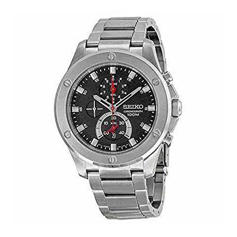 Seiko Chronograph Black Dial Stainless Steel Mens Watch SPC095 (Digital Watch Men Seiko)