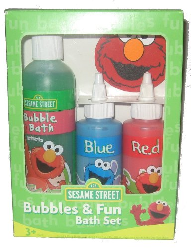Sesame Street Bubbles   Fun Bath Set Featuring Elmo  8 oz  Watermelon  Bubble Bath  4 oz  Blue Finger Paint Bubble Bath  4 oz  Red Finger Paint  Bubble Bath. Sesame Street Bubbles   Fun Bath Set Featuring Elmo  8 oz