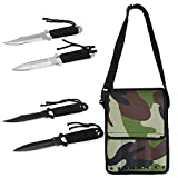 """TOOLTOO Scuba Diving Knife Set – Tactical Survival Knife Kit – 4 Pieces Set Razor Sharp With Nylon Knife Pouch for Outdoor Snorkeling Hunting Survival Rescue and Water Sports, 8.5"""""""