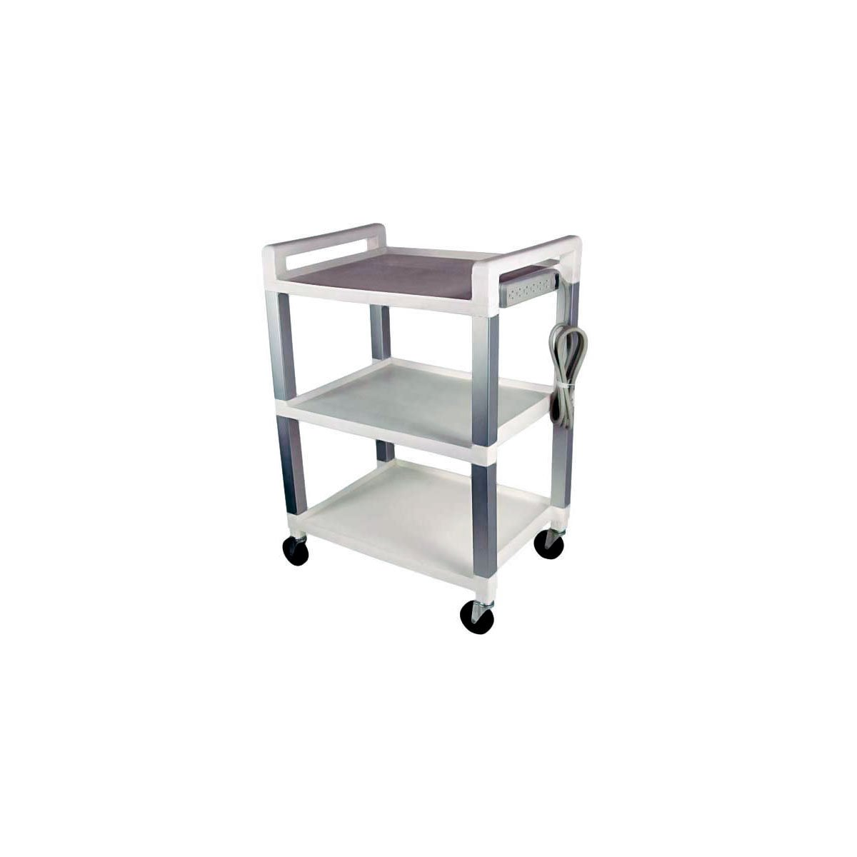 Ideal Medical Products UC320P Three Shelf Poly Cart with Power Strip