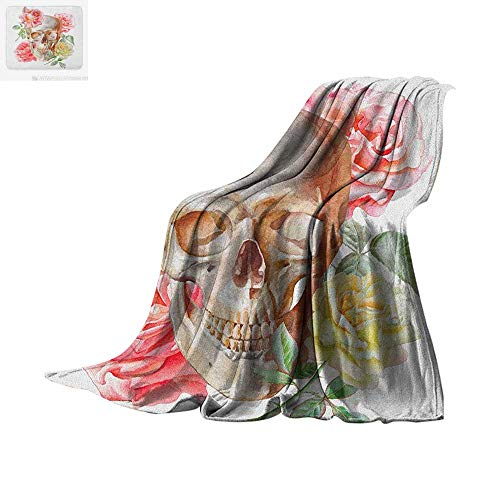 Taggies Sleeper (Skull Custom Design Cozy Flannel Blanket Skull with Roses Living and The Dead Humor Romantic Evil Face Image Art Design Digital Printing Blanket 80