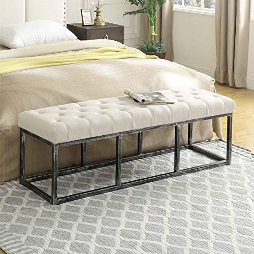 24KF Upholstered Tufted Long Bench with Metal Frame Leg, Ottoman Bench with Padded Seat-Ivory (Tufted Bench Seat)