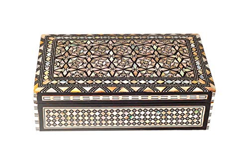 (LazShop Mosaic Handmade, Mother of Pearl Engraved, Decorative Wooden Jewelry/Trinket Box | Premium Materials & Craftmanship (Brown & Beige) (Medium))