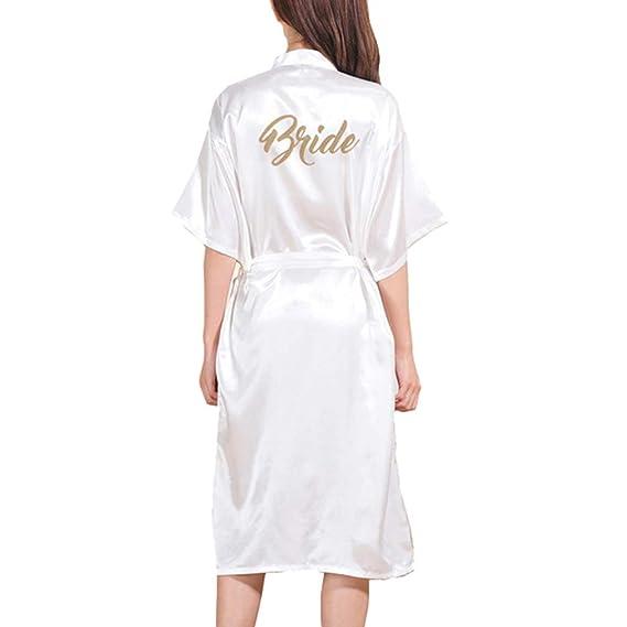 Hibote Boda Kimono Satén Largo Mmujeres Cómo Prepararse Bata Dorado Brillo Dama Honor Camisones Largos: Amazon.es: Ropa y accesorios