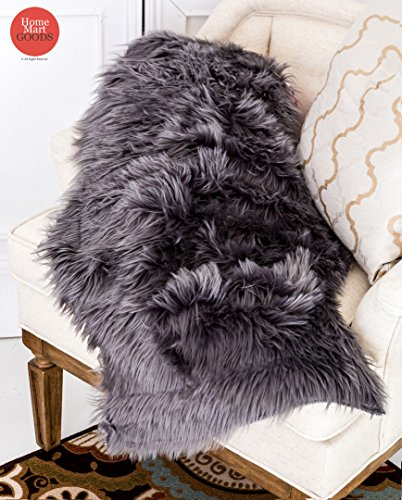 Homemusthaves 2x3 Feet Faux Sheepskin Rug Carpet Shaped Sheep Skin Rugs (Grey) (Sheep Faux Skin)