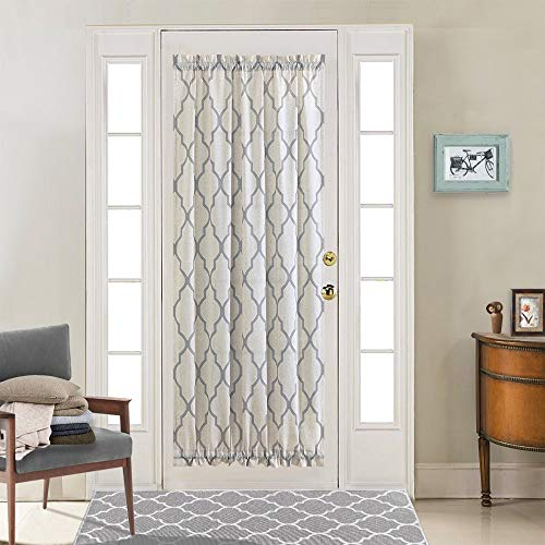jinchan French Door Curtain Panel Moroccan Tile for Bedroom Quatrefoil Flax Linen Blend Textured Geometry Lattice Print Window Treatment for Living Room 1 Panel 72' L Soft Grey