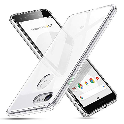 ESR Mimic Tempered Glass Case Compatible for Google Pixel 3, 9H Tempered Glass Back Cover [Mimics The Glass Back][Scratch-Resistant] + Soft Silicone Bumper [Shock Absorption], Clear