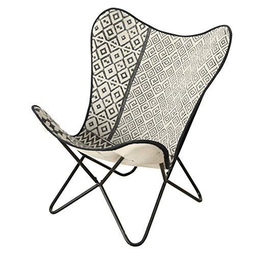 WHW Whole House Worlds Eco Lodge Butterfly Chair, Black and White, Ikat, Hand Crafted, Stitched...
