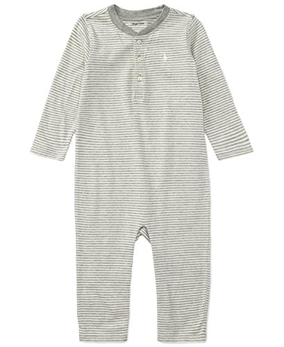 Ralph Lauren Baby Boys Striped Henley L/S Cotton Coverall (Antique Cream Multi, 3 Months) -
