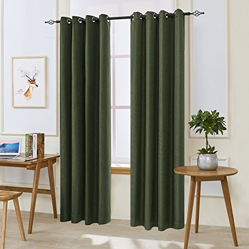 "Green Window Curtain (DyFun 2 Panels Linen Thermal Insulated Window Treatment Grommet Top Blackout Window Curtains /Drapes(52""×84"", Dark Green))"