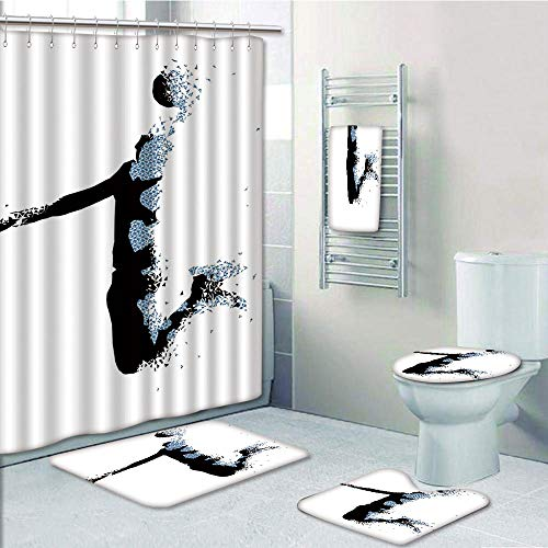 Artistic Bath Light - Bathroom Fashion 5 Piece Set shower curtain 3d print,Teen Room Decor,Modern Stylized Basketball Player in Fractal Pattern Artistic Design,Black Light Blue,Bath Mat,Bathroom Carpet Rug,Non-Slip,Bath To