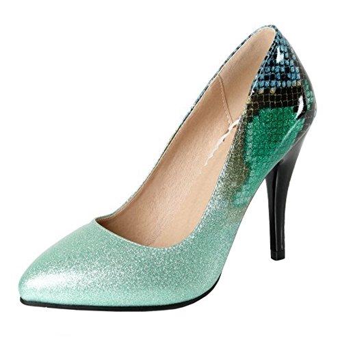 Briller Haut Talon Femmes Bout TAOFFEN Chaussures Fermé Green à Enfiler à 2 Escarpins qxwHA50A