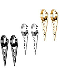 MOWOM Silver Gold Two Tone Black Stainless Steel Hoop Huggie Earrings Cross Triangle Awl Taper Rivets ( 3 Pairs )
