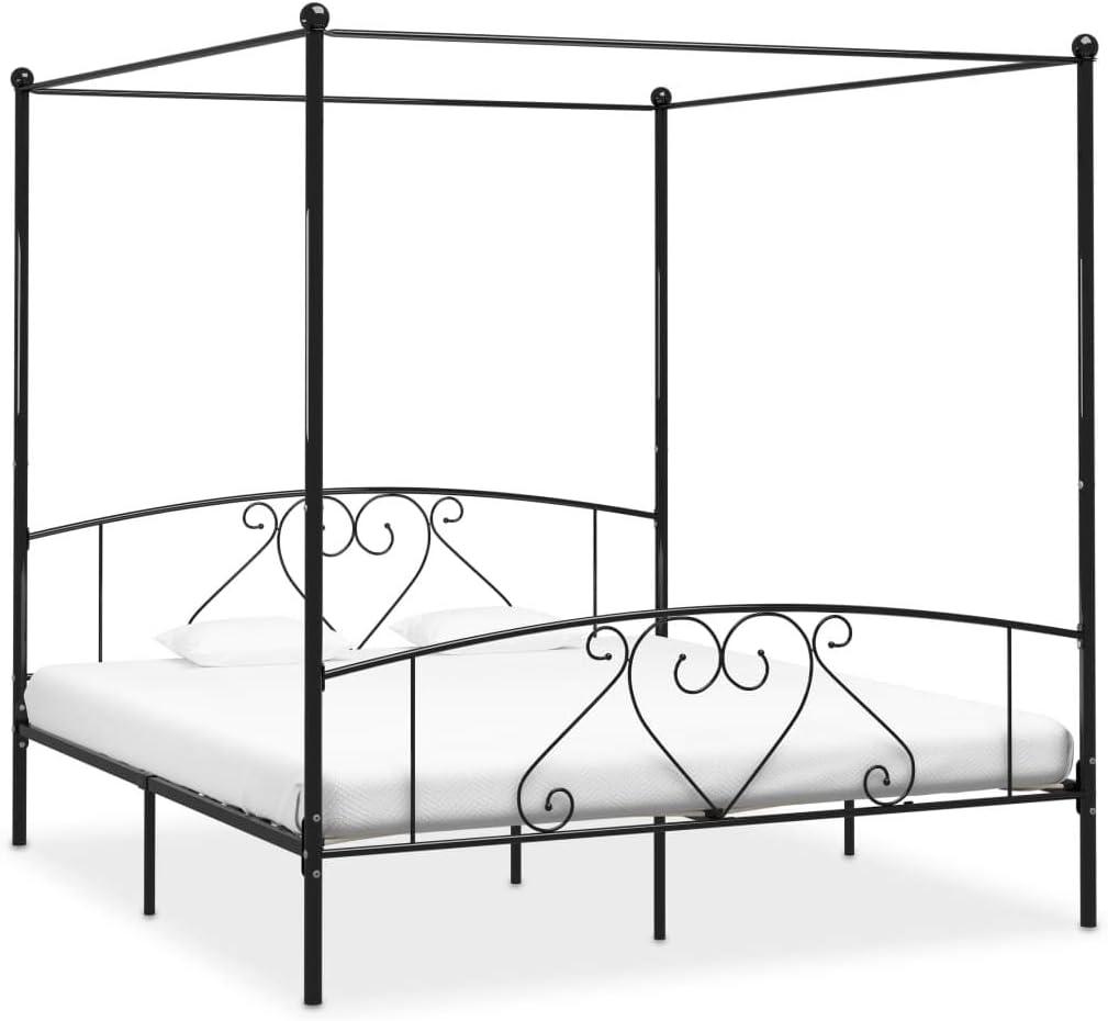 UnfadeMemory Estructura de Cama de Metal con Somier y Dosel,Elegante y Clásico (200x200cm, Negro)