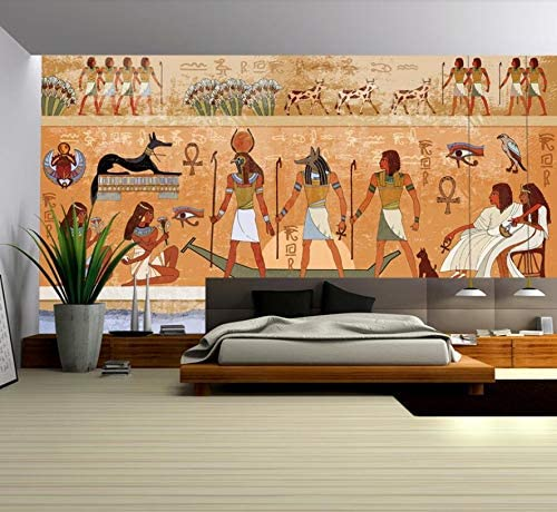 QUDMST カスタム大壁画壁紙ヴィンテージ古代エジプトのファラオと神壁画の壁の背景-200X140cm