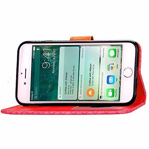 Voguecase® Pour Apple iPhone 6/6s 4,7 Coque, Étui en cuir synthétique chic avec fonction support pratique pour Apple iPhone 6/6s 4,7 (motif de contexture-Rouge)de Gratuit stylet l'écran aléatoire univ