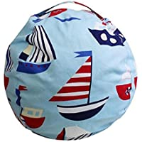 EXTRA LARGE - Stuffed Animal Storage Bean Bag Chair| 26& 38 Extra Large | Light Blue | Premium Cotton Canvas (38, Light Blue)