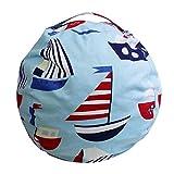 EXTRA LARGE - Stuffed Animal Storage Bean Bag Chair  26''& 38'' Extra Large   Light Blue   Premium Cotton Canvas (38'', Light Blue)