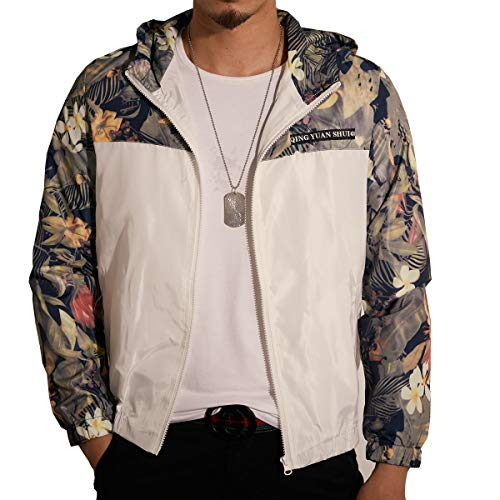 LOGEEYAR Men's Windbreaker Jacket with Hood,Lightweight Bomber Jacket for Men with Floral Print and Front Zipper White