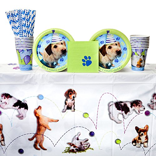 Party Pups Party Pack for 16 Guests - Straws, Dessert Plates, Beverage Napkins, Cups, and Table Cover