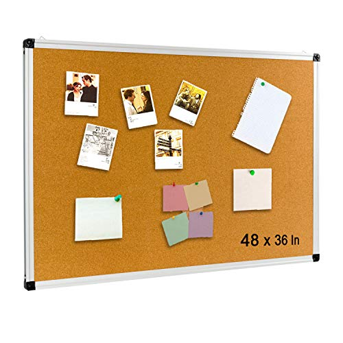 Aluminum Frame Bulletin Board 48 x 36 Inch, Cork Bulletin Board 4 x 3, Notice Message Board with Thicken and Reinforce Silver Aluminum Frame