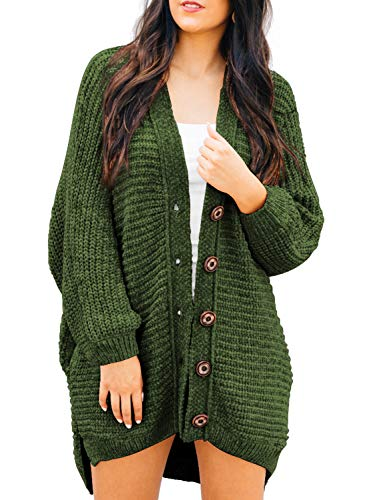 Acrylic Chenille Sweater - HOTAPEI Ladies Cardigan Sweaters for Women Oversized Loose Solid Long Sleeve Open Front Knit Chunky Long Sweaters Cardigan Winter Outwear Coat with Pockets Buttons Dark Green L