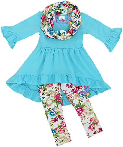 Boutique Clothing Girls Easter Floral Tunic Legging Scarf Set Light Blue -
