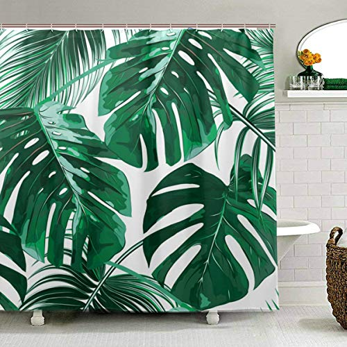 (ZOEO Palm Tree Shower Curtain for Bathroom Green Tropical Hawaii Fabric Shower Curtain Set Jungle Leaves Backdrop 12 Hooks Waterproof Polyester Washable for Old Bathroom 72x72 inch)