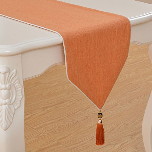 - ZUOANCHEN Table Runners Long - Rustic Wedding Table Runner Decoration - Dining Table Runner Roll - Kitchen Table Runner - Thanksgiving Easter Table Runner (Color : Orange, Size : 33260)