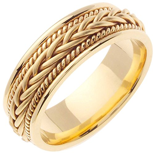 18K Gold Braided French Braid Men's Comfort Fit Wedding Band (7mm) Size-10c1 - Gold Braided Ring