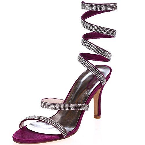 Clearbridal Women's Peep Toe Rhinestones High Heel Strappy Satin Wedding Sandals Court Shoes ZXF9920-10 Purple