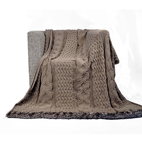 (Battilo Cable Knitted Luxury Chenille Throw Blanket with Faux Fur Serging on Both Ends, 50