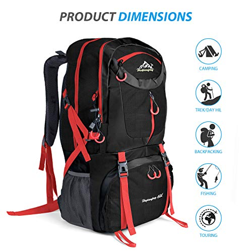 Patiszon Randonnée Noir 60l De À Camping Étanche Dos Backpack Trekking Travel Sac IxprPx