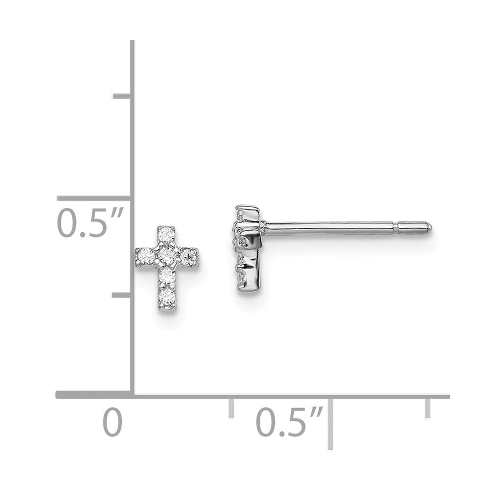 Sterling Silver Rhodium-plated Madi K CZ Childrens Cross Post Earrings