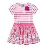 LittleSpring Little Girls' Dress Striped Flower Short Sleeve Size 4T Style-A