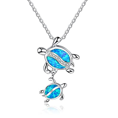 Mother Father and Daughter Son Sea Turtles Pendant Necklace 925 Sterling Silver Blue Opal Necklaces CrqIjEfk8P