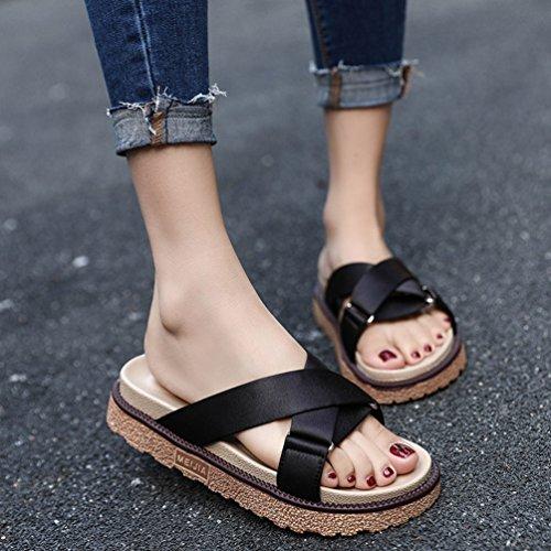 Été Ouvert Plates Femmes Noir Bout Satin Confort Mules Plateforme JITIAN Sangles Tongs Sandales Chaussures tFPRqnwx