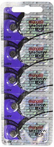 Eta Watch Parts - Maxell SR626SW 377 Silver Oxide Watch Battery 5 Pack
