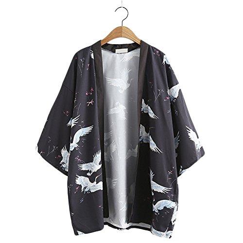 不測の事態芝生ピッチャーulricar レティース シャツ 和風 プリント 鶴柄 日焼け アウター トップス うすで シンプル カジュアル 個性的