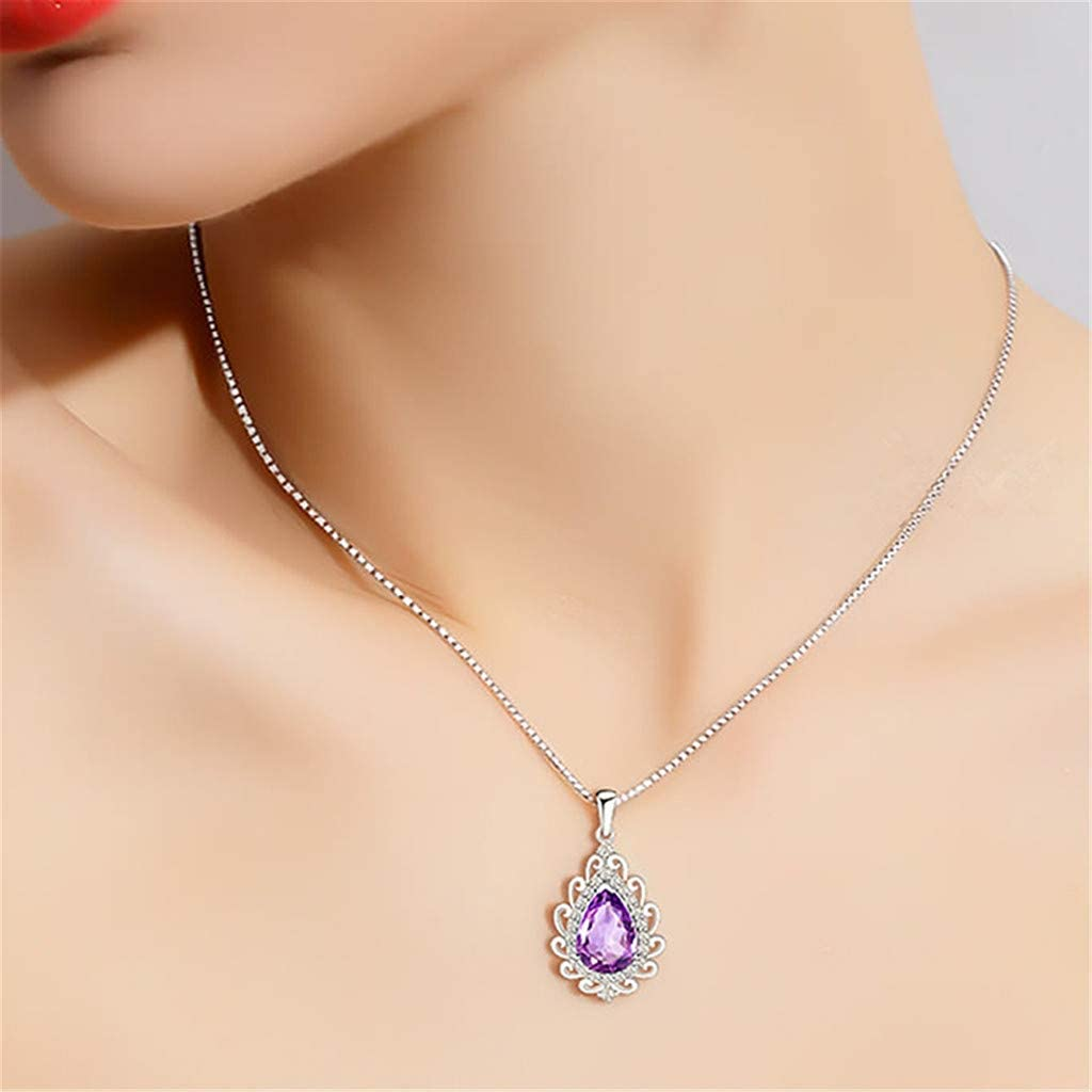 callm Necklace Pendant for Women Amethyst Crystal,Amethyst Natural Amethyst Silver Drops High-end Necklace Silver Pendant Birthstone Birthday Gift for Women