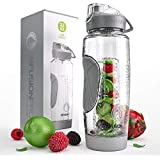 Infusion Pro 32 oz. Fruit Infusion Water Bottles with Insulated Sleeve & Infuser eBook :: Bottom Loading, Large Cage for More Flavor & Pulp Strainer :: Delicious, Healthy Way to Up Your Water Intake