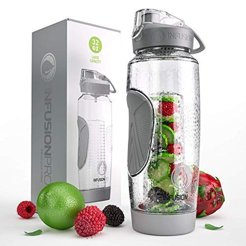 Fruit Infusion Water Bottles with Insulated Sleeve & Infuser eBook :: Bottom Loading, Large Cage for More Flavor & Pulp Strainer :: Delicious, Healthy Way to Up Your Water Intake ()