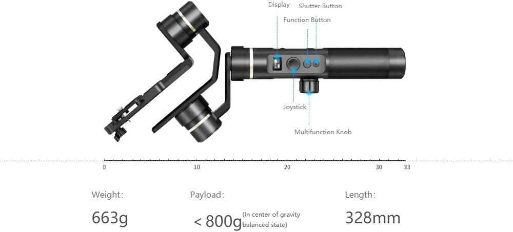 for Action Camera Gopro Hero,Xiaomi,Yi Cam 4K,Sony Rx0,Sony A6000 and Any Cameras Within 800g,Splash Proof 12H Runtime w//Tripod,Extension Rod Feiyu G6 Plus 3-Axis Gimbal Stabilizer G6 Upgrade Ver