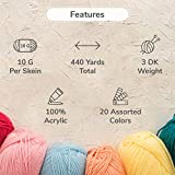 TYH Supplies 20-Pack 22 Yard Acrylic Yarn Assorted