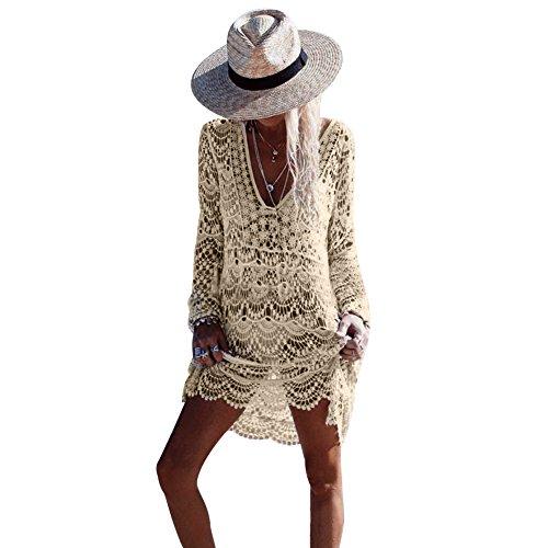 Womens' Hollow Lace Hook Cover Up Crochet Bikini Swimsuit Dress - Dress Crochet