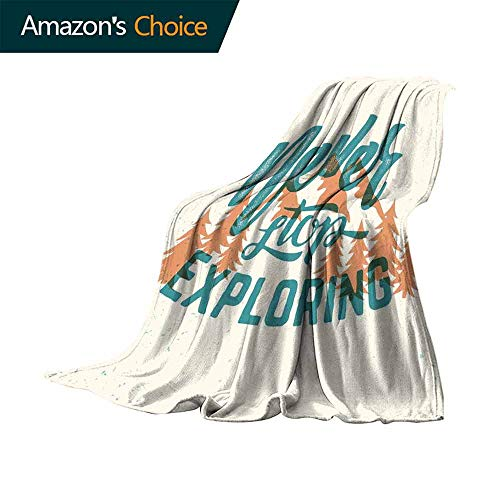 Explore Bed Blanket,Hand Lettering Quote on Traveling with Mountain and Forest Silhouette for Bed & Couch Sofa Easy Care (60