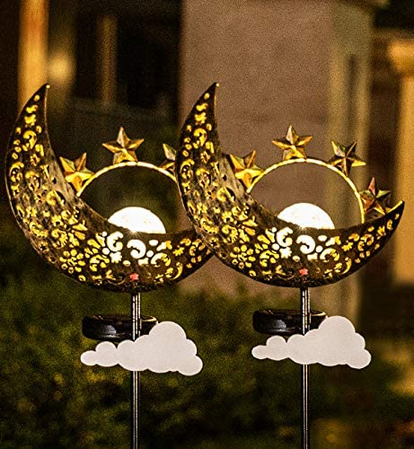 Solar Lights Outdoor Garden – 2 Pack Metal Moon Stakes Garden Art Crackle Glass Globe Lights for Patio, Lawn, Pathway, Yard Moon
