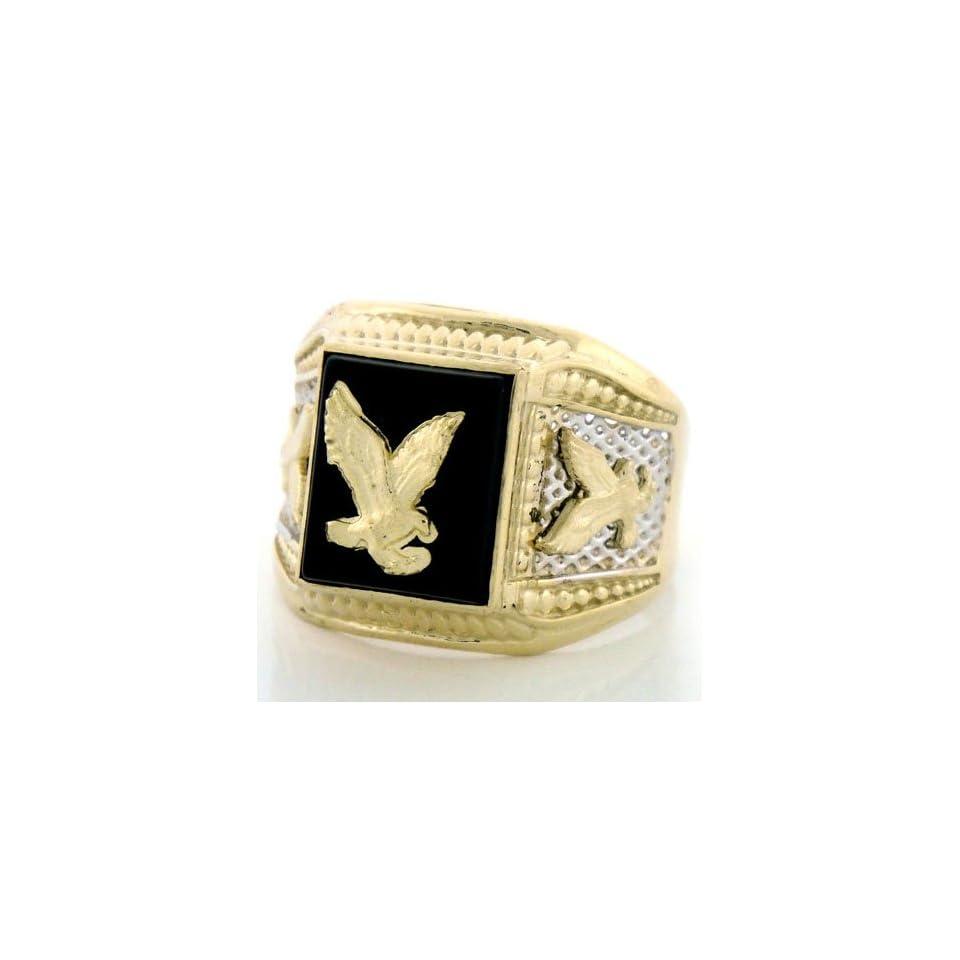 14K Two Tone Gold Onyx Mens Ring W/ Eagle Designs