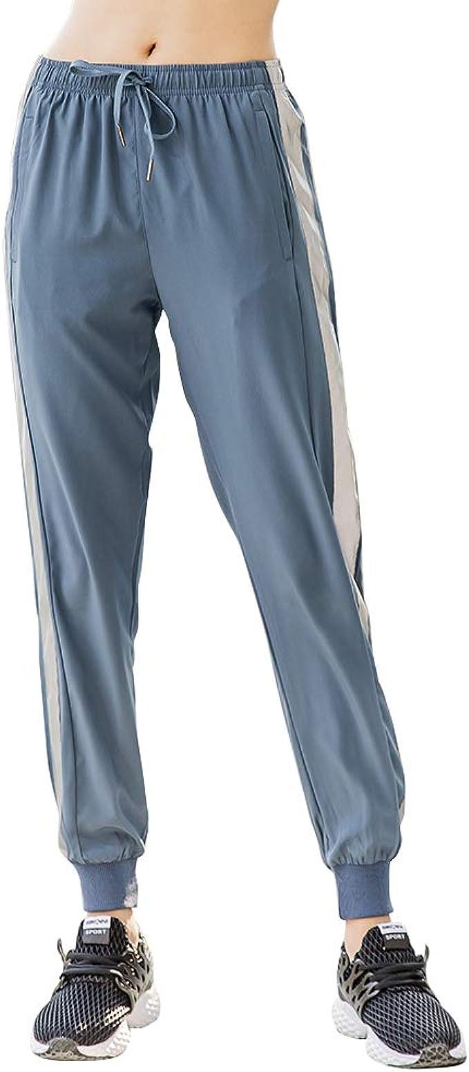 MEYINI Joggers de Mujer con Rayas Reflectantes Pantalones de ...