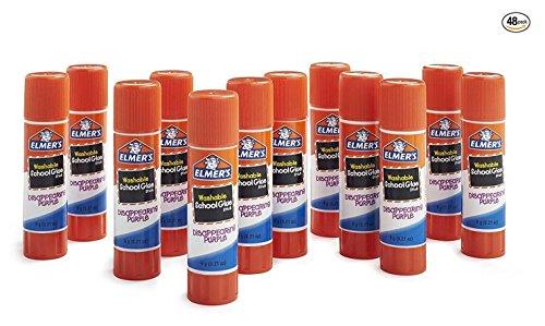 Stick Elmers Glue (Elmer's Disappearing Purple School Glue, Washable, 48 Pack, 0.21-ounce sticks)